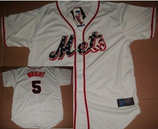 New York Mets #5 Wright Star White Jersey