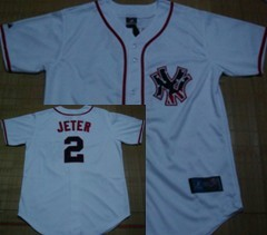 New York Yankees #2 Jeter Star White Jersey