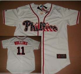 Philadelphia Phillies #11 Rollins Star White Jersey