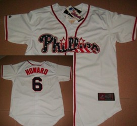 Philadelphia Phillies #6 Howard Star White Jersey
