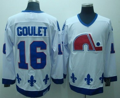 Quebec Nordiques #16 Goulet White CCM Throwback Jersey