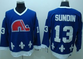 NHL Quebec Nordiques #13 SUNDIN Navy Blue Jersey