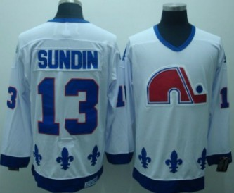 Quebec Nordiques #13 SUNDIN White CCM Throwback Jersey