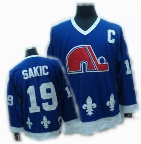 NHL Quebec Nordiques #19 SAKIC Navy Blue Jersey