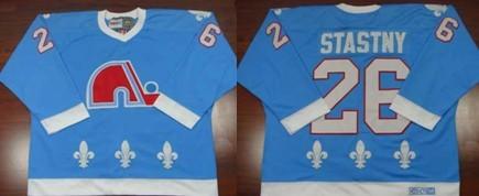 NHL Quebec Nordiques #26 STASTNY Sky Blue Jersey