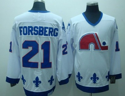 Quebec Nordiques #21 Forsberg White CCM Throwback Jersey