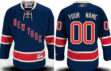 New York Rangers Mens Customized Navy Blue Third Jersey