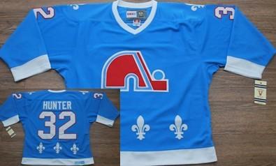 Quebec Nordiques #32 Hunter Light Blue Throwback Jersey