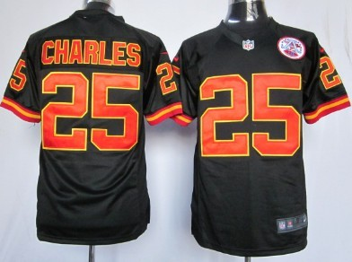 Nike Kansas City Chiefs #25 Jamaal Charles Black Game Jersey