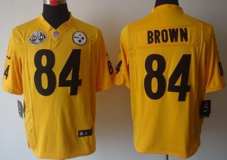 Nike Pittsburgh Steelers #84 Antonio Brown Yellow Game 80TH Jersey