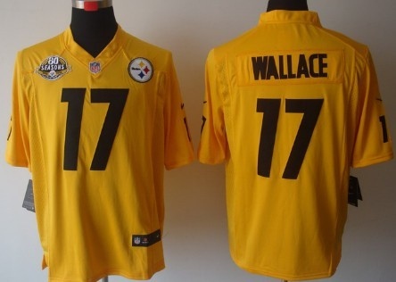 Nike Pittsburgh Steelers #17 Mike Wallace Yellow Game 80TH Jersey