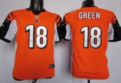 Nike Cincinnati Bengals #18 A.J. Green Orange Game Kids Jersey