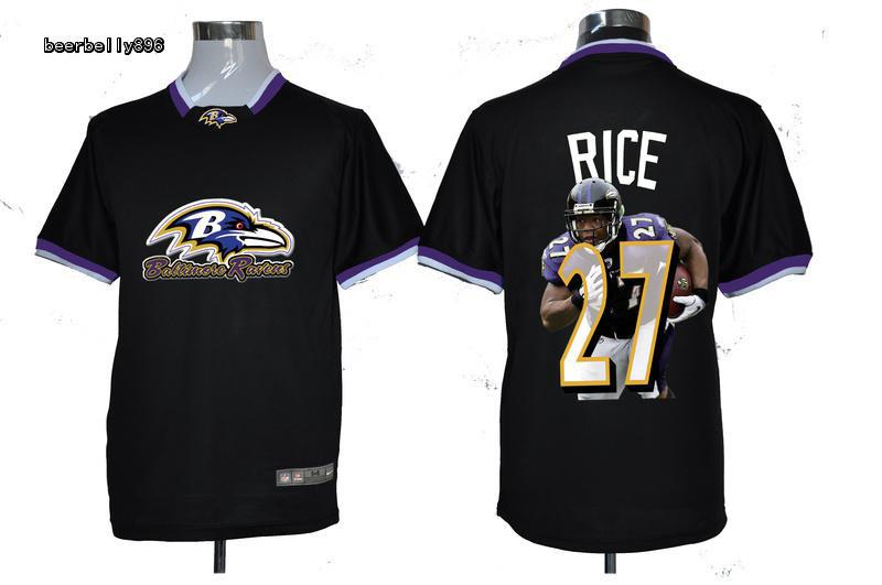 Nike NFL Baltimore Ravens Team All-Star Fashion #27 Rice Black Jerseys
