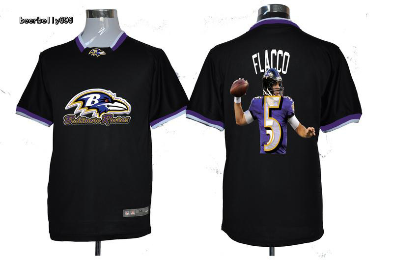 Nike NFL Baltimore Ravens Team All-Star Fashion #5 Flacco Black Jerseys