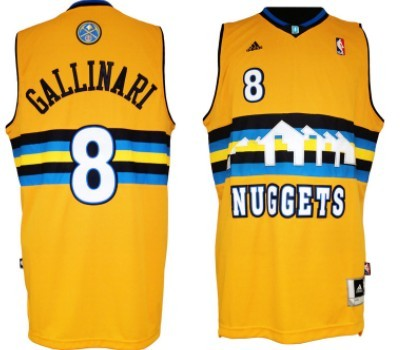 Denver Nuggets #8 Danilo Gallinari Revolution 30 Swingman Yellow Jersey