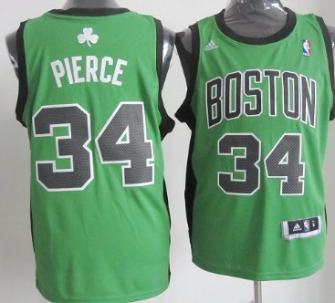 Boston Celtics #34 Paul Pierce Revolution 30 Swingman Green With Black Jersey