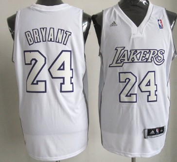 Los Angeles Lakers #24 Kobe Bryant Revolution 30 Swingman White Big Color Jersey