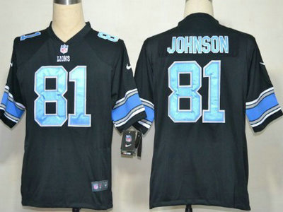 Nike Detroit Lions 81 Calvin Johnson Black With Light Blue Game Jersey