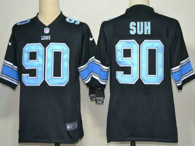 Nike Detroit Lions 90 Ndamukong Suh Black With Light Blue Game Jersey