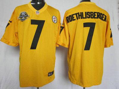 Nike Pittsburgh Steelers 7 Ben Roethlisberger Yellow Game 80TH Jersey