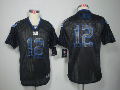 Nike Indianapolis Colts 12 Andrew Luck Lights Out Black Elite Kids Jerseys