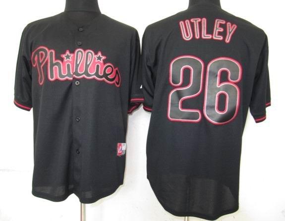 Philadephia Phillis 26 Utley Black Fashion Jerseys