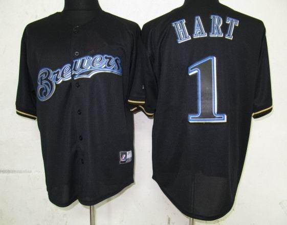 Milwaukee Brewers 1 Hart Black Fashion Jerseys