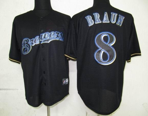 Milwaukee Brewers 8 Braun Black Fashion Jerseys