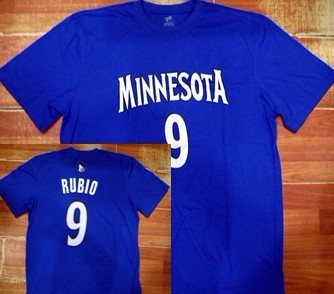 Minnesota Timberwolves #9 Ricky Rubio Blue T-Shirt