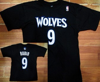 Minnesota Timberwolves #9 Ricky Rubio Black T-Shirt