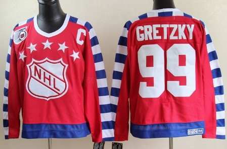 NHL 1992 All-Star #99 Wayne Gretzky Red Throwback CCM 75TH Jersey