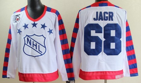 NHL 1992 All-Star #68 Jaromir Jagr White Throwback CCM 75TH Jersey