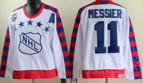 NHL 1992 All-Star #11 Mark Messier White Throwback CCM 75TH Jersey