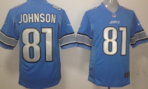 Nike Detroit Lions #81 Calvin Johnson Light Blue Game Jersey