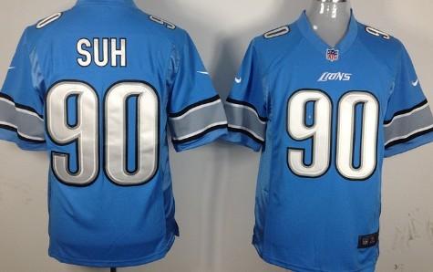 Nike Detroit Lions #90 Ndamukong Suh Light Blue Game Jersey