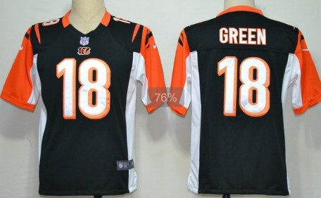 Nike Cincinnati Bengals #18 A.J. Green Black Game Jersey