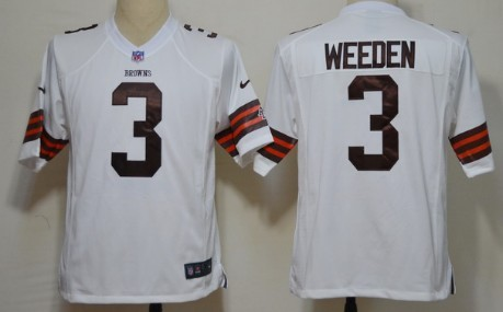 Nike Cleveland Browns #3 Brandon Weeden White Game Jersey