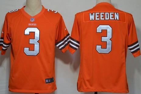 Nike Cleveland Browns #3 Brandon Weeden Orange Game Jersey