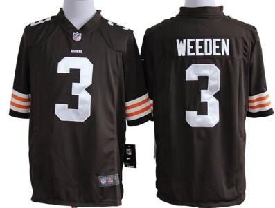 Nike Cleveland Browns #3 Brandon Weeden Brown Game Jersey