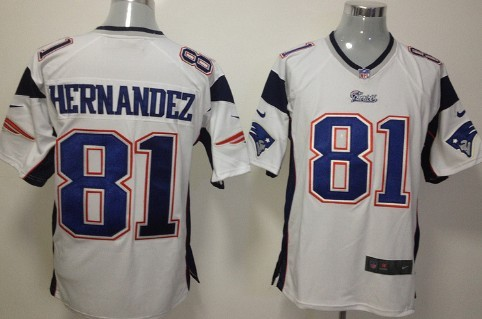Nike New England Patriots #81 Aaron Hernandez White Game Jersey