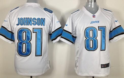 Nike Detroit Lions #81 Calvin Johnson White Game Jersey