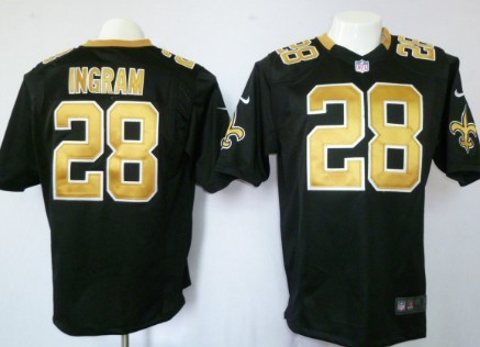 Nike New Orleans Saints #28 Mark Ingram Black Game Jersey