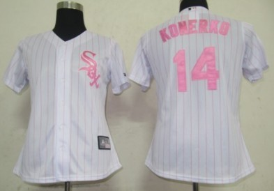 Chicago White Sox #14 Konerko White With Pink Pinstripe Womens Jersey