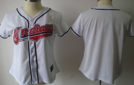 Cleveland Indians Blank White With Red Womens Jersey