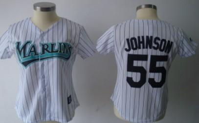 Florida Marlins #55 Johnson White Womens Jersey