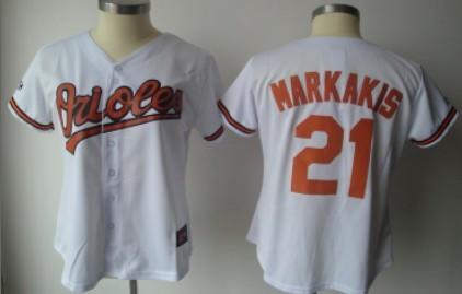 Baltimore Orioles #21 Markakis White Womens Jersey