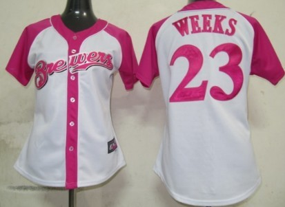 Milwaukee Brewers #23 Rickie Weeks 2012 Fashion Womens by Majestic Athletic Jersey