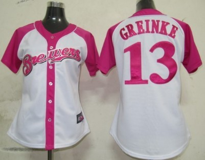 Milwaukee Brewers #13 Zack Greinke 2012 Fashion Womens by Majestic Athletic Jersey