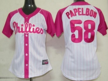 Philadelphia Phillies #58 Jonathan Papelbon 2012 Fashion Womens by Majestic Athletic Jersey