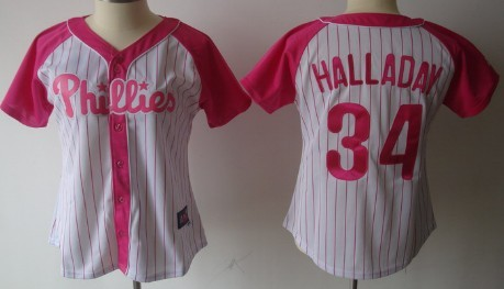 Philadelphia Phillies #34 Roy Halladay 2012 Fashion Womens by Majestic Athletic Jersey